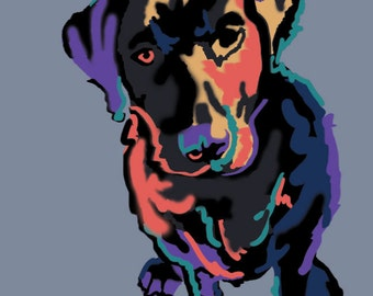 9x12 Black Lab Art - Dog Art - Print