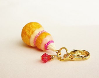 Handmade French Religieuse Charm - Polymer Clay Food French Dessert - Miniature Food Jewelry - French Pastry