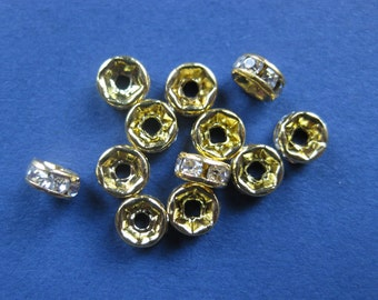 25 Rondelle Spacer Beads - Gold Plated with Clear Rhinestones - Round - 5mm -- (O3-10046)