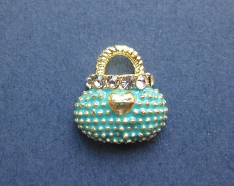 5 Purse Charms - Purse Pendants - Handbag Charm - Enamel Charm - Gold Plated - 12mm x 11mm -- (M5-10810)