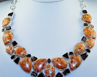 Amazing Sunflower Agate with Smokey Topaz & 925 Sterling Silver Necklace
