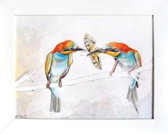 European Bee Eaters - Original framed watercolour