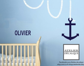 Wall Sticker no. S- 016 - boat anchor with rope and your child's name - Free Shipping to Canada. - Decal