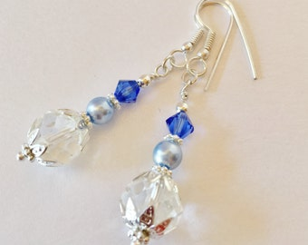 Blue Crystal Earrings Blue Wedding Earrings Bridesmaid Jewelry Blue Pearl Earrings Bridesmaid Gift Jewelry Set Swarovski Crystal Elements