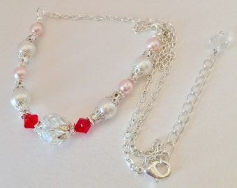 Red Bridal Necklace Pink Pearl Necklace Crystal Jewelry Bridesmaid Gift Red Crystal Wedding Set Swarovski Crystal Elements Red Bridesmaid
