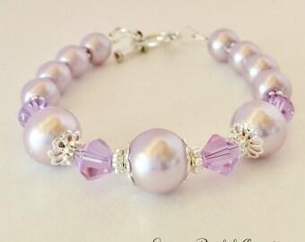 Lavender Pearl Bracelet Bridesmaid Bracelet Wedding Jewelry Purple Crystal Jewelry Bridesmaid Gift Bridal Jewelry Lavender Crystal Bracelet
