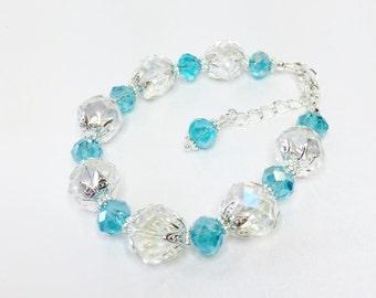 Blue Crystal Wedding Bracelet Crystal Bridal Party Gift Blue Bridesmaid Gift Blue Beaded Bracelet Blue Crystal Jewellery Gift Under 15