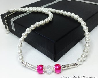 Pink Pearl Necklace Crystal Necklace Bridesmaid Gift Wedding Set White Pearl Jewelry Hot Pink AB Crystal Jewelry Bridesmaid Jewelry Handmade