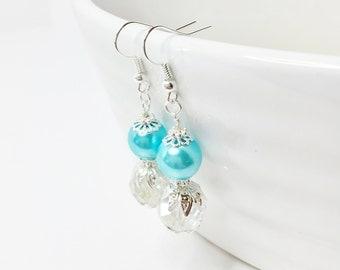 Blue Crystal Earrings Bridesmaid Earrings Jewelry Set Drop Earrings Crystal Beaded Jewelry Bridal Jewelry Bridesmaid Gift Jewelry Set