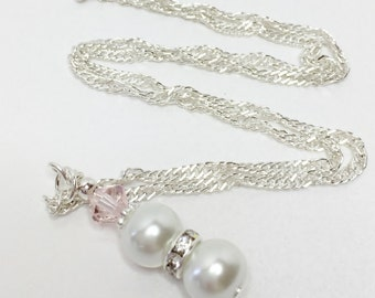 White Pearl Pendant Necklace Pink Crystal Necklace Bridesmaid Necklace Wedding Jewelry Bridesmaid Gift Mother of the Bride Jewelry Set
