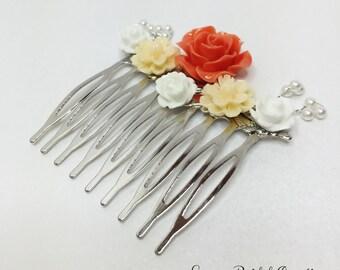 Coral and Lemon Hair Comb Bridesmaid Accessory Wedding Hair Comb Resin Flower Hair Pin Pearl Hair Jewelry Lemon Hair Pin Flower Hair Comb