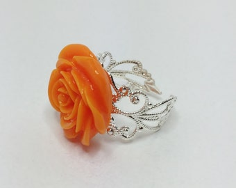 Coral Ring Bridesmaid Ring Coral Rose Jewelry Wedding Jewelry Bridesmaid Gift Flower Wedding Accessory Silver Ring Resin Flower Ring