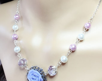 Violet Flower and Purple Crystal Necklace Bridesmaid Gift Lavender Pearl Necklace Wedding Jewellery Mother of the Bride Gift Resin Flower