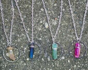 Quartz Crystal Halo Necklace