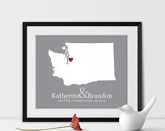 Washington State Map Art, Seattle Wedding Gift for Couples Anniversary Gift Personalized Couples Gift for Her Washington Gift -Any STATE