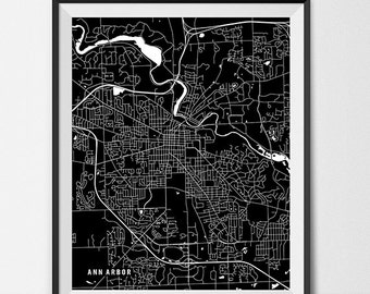 Ann Arbor Map Art Print, Ann Arbor City Map of Ann Arbor Art Poster of Michigan State Map University of Michigan Art Grad Gift Dorm Art
