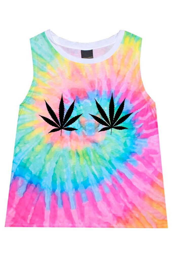 Weed cannabis tie dye t shirt sleeveless tee top tank womens for Tie dye sleeveless shirts