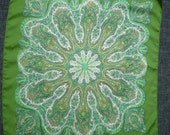 """Sale 10 dollars off!  LIBERTY of LONDON SILK Lime Green 22"""" / 56cm Square Geometric Floral Silk Scarf"""