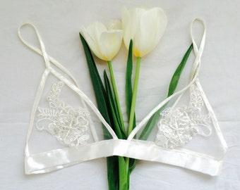 Delicate white satin applique bralette - soft bra, handmade lingerie