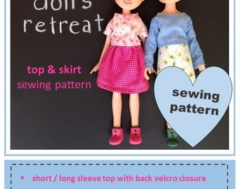 Sewing pattern for skirt and top for rescued recycled made under Bratz doll
