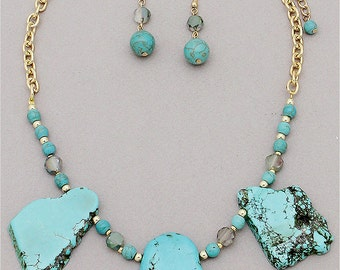 Chunky Stone Statement Necklace with matching Earrings