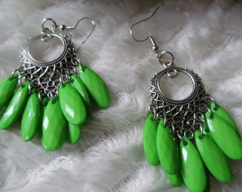 Earrings statement Neclaces vintage ethno silver/green