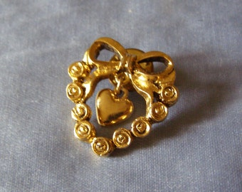 vintage CAMCO Ribbon Top HEART Pin w center Heart Pendant - goldtone Finish ladies Costume Jewelry Sweetheart, WIFE, Fiancee Girlfriend gift