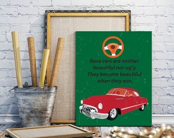 Vintage Cars – Red Car Quotes – Retro Transportation– Boy Nursery– Boy's Theme– Retro Toys– Old Car Tag –Street Signs–Young Teen Boys Art
