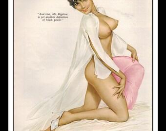 "Vargas Playboy Pinup Girl Vintage November 1967 ""Black Power"" Sexy Raven Nude Mature White Negligee Wall Art Deco Print"