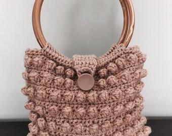 Handmade vintage crochet knit 1960's popcorn bobble boho purse