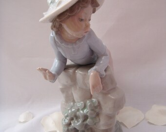Nao by Lladro - Young Girl leaning on wall with puppy