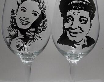 Honeymooners, Jackie Gleason, Hand painted glasses, Painted wine glasses