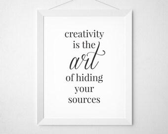 Craft Room Print, Creativity Printable, Black and White Craft Room, Creative Print, Craft Room, Creativity Quote, Albert Einstein Quote