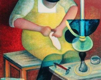 Louis Toffoli, heeft de gloed van het licht, 1 mei, dag van de arbeid, de schoenmaker, schoenmaker, schoenmaker, ambachtelijke, ondertekende originele lithografie,
