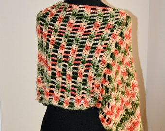 Spring Flair Asymmetrical Crochet Poncho