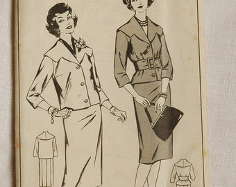 Vintage suit pattern, Woman W369, 1950s, bust 34 inches, unused pattern