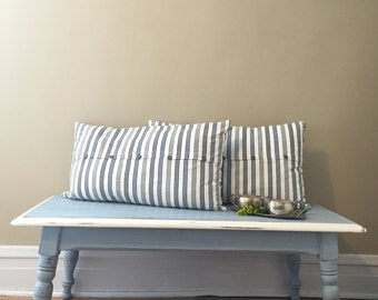 Vintage Hand Painted Coffee Table/Bench in Blue & White