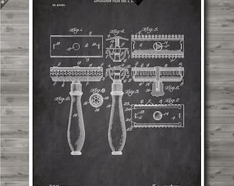 Gilette Razor poster, Gilette Razor patent, Gilette Razor print, Gilette Razor Art, Gilette Razor Bathroom Decor no122