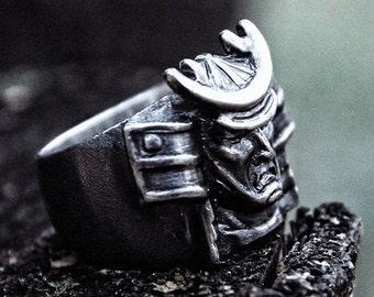 925 Silver Men Ring Samurai Japan