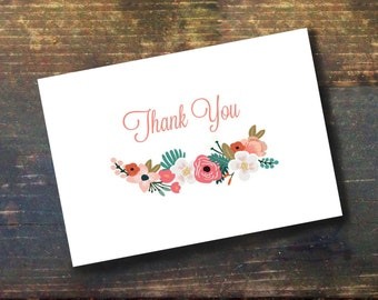 Floral Thank You Card (Instant Download)