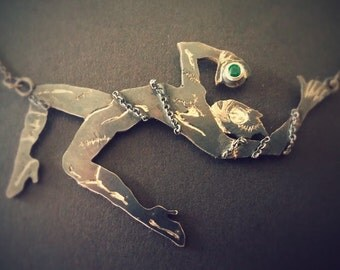 """Catwoman Necklace with """"Cats Eye"""" Emerald"""
