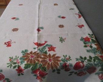"1950's Vintage  Linen Christmas Tablecloth Ornaments Poinsettia Holly  51"" X 66 """