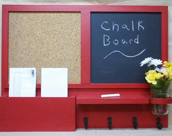 Message Center - Chalk Board - Cork Board - Mail Organizer -  Key Holders - Jar Vase