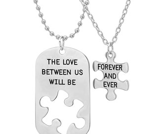 His and Hers Dog Tag/Puzzle 2-Piece Necklace