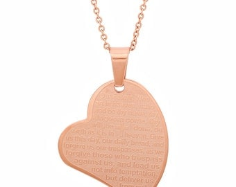 The Lord's Prayer Heart Pendant
