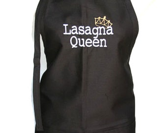 Lasagna Queen with Crown (Adult Apron) Available in Colors too