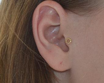 Gold Tragus Stud, Tragus earring, Nose stud, Cartilage stud, Nose screw, Helix stud, Rook earring, 20 gauge cartilage earring
