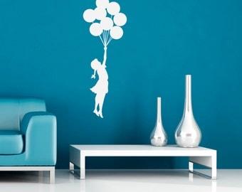 Banksy Wall Decal - Flying Balloon Girl - Self-Adhesive Graffiti Wall Art
