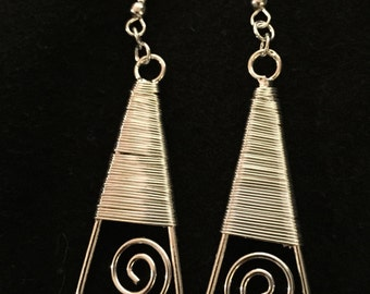 Silver Wrapped Drop Earring Pewter Simple Statement Wire Wrapped Elegant Modern