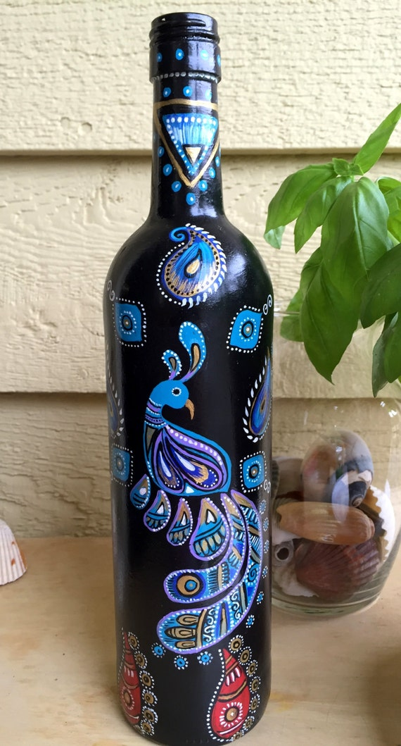 Items Similar To Hand Painted Wine Bottle Peacock And Floral Design Oil Dispenser Home Decor